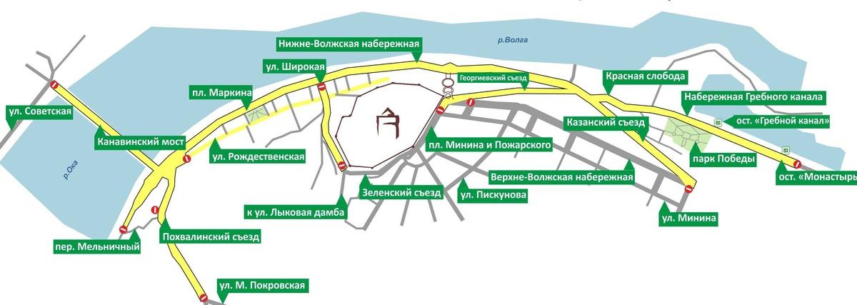 Движение в центре Нижнего Новгорода будет ограничено 8 мая из-за финальной репетиции парада Победы - фото 1
